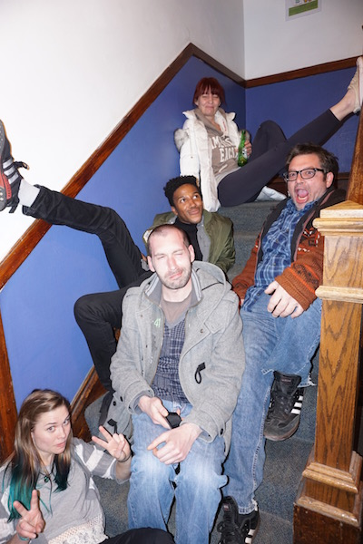 We wanted a fun pose on the stairs before the Pub Crawl!