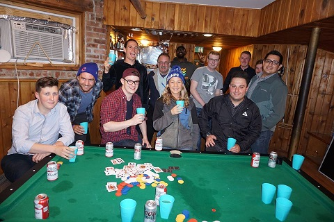 After a fun game of Texas Hold'em, they are ready to start the pub crawl .