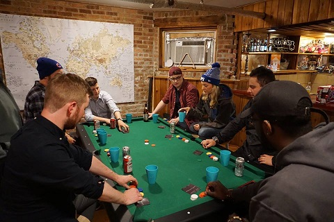 Poker night at Wrigley Hostel before the Tez takes the gang on a pub crawl.