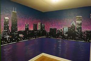 Check out our Chicago Skyline Mural in the Hostel!