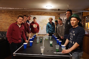 This group played lots of flip cup at their stay in chicago.