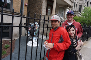 A group out for a scavenger hunt in Wrigleyville with the Hostel