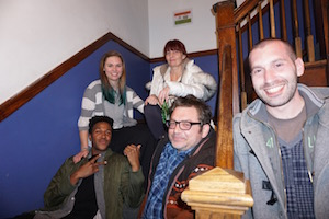 Everyone Poses on the stairs before our Pub Crawl!