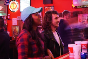 Lots of fun playing beer pong on Wrigley Hostel's Wednesday Pub Crawls