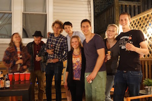 This group met at wrigley hostel for their study abroad reunion.
