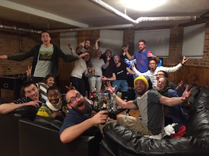 Theres always a party in Wrigley Hostel's common room!