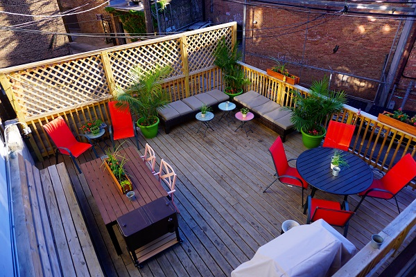 Wrigley Hostel's great social outdoor lounge!
